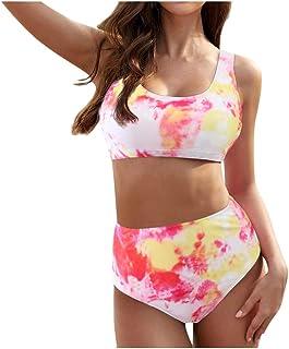 riou Bikini, Bikinis Mujer 2020 Push up Sexy Cintura Alta Conjunto de Traje de BañO Estampado Tie-Dye Baño de Dos Piezas Tops y Braguitas Ropa de Playa riou …