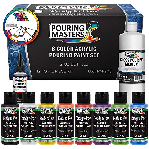 Pouring Masters 8 Color Ready to Pour Acrylic Pouring Paint Set - Premium Pre-Mixed High Flow 2-Ounce Bottles - for Canvas, Wood, Paper, Crafts, Tile, Rocks and More