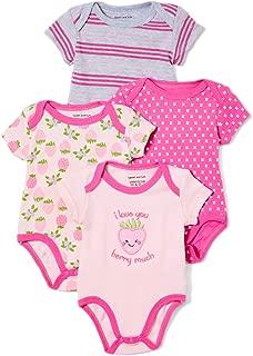 Baby Girls 4 Pack Printed Bodysuits