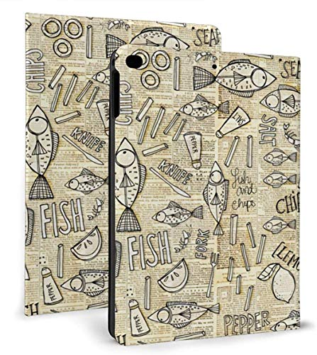Fish and Chips Case for Ipad Air 1/2 9.7 Inch 2018/2017,Adjustable Stand Auto Wake Or Sleep Smart Case for Ipad 6th Or 5th Gen