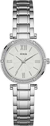 Guess Womens Park Ave South 30mm Steel Bracelet & Case Quartz White Dial Analog Watch W0767L1