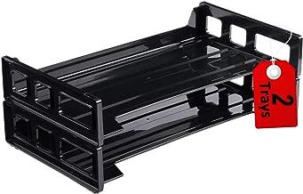 1InTheOffice Desk Tray, Side Load Stackable Legal Desk Tray, Black Plastic (2 Trays)