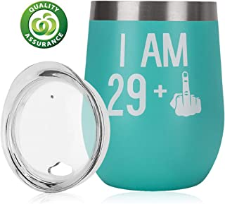 30th Birthday Gifts For Women Men|30th Bday For Her Him|29 + One Finger|Funny Wine Gift Idea| 12oz Insulated Stainless Steel Tumbler with lid|Funny Turning 30 Gift |Anniversary Gift Idea for Him, Her
