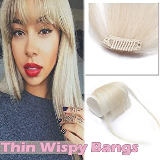 Clip in Human Hair Bangs Thin Clip on Wispy Hair Fringe Extensions Flat Air Fringe with Temples for Women One-piece 5