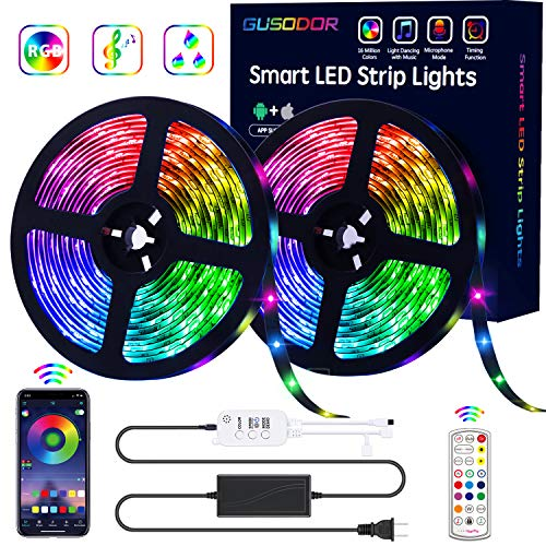 GUSODOR LED Strip Lights RGB Strips 32.8ft Tape Light 300 LEDs SMD5050 Waterproof Music Sync Color...