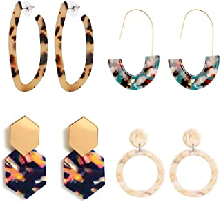 Chic Acrylic Circle Round Earrings Set Fashion Stylish Earrings Dangle Jewelry for Women Ladies Girls