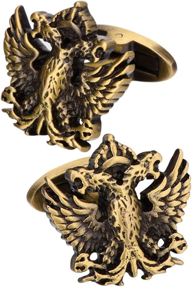 BO LAI DE Men's Cufflinks Vintage Metal Double-Headed Eagle Cuff Links Suitable for Business Events, Meetings, Dances, Weddings, Tuxedos, Formal Wear, Shirts, with Gift Boxes,Brass