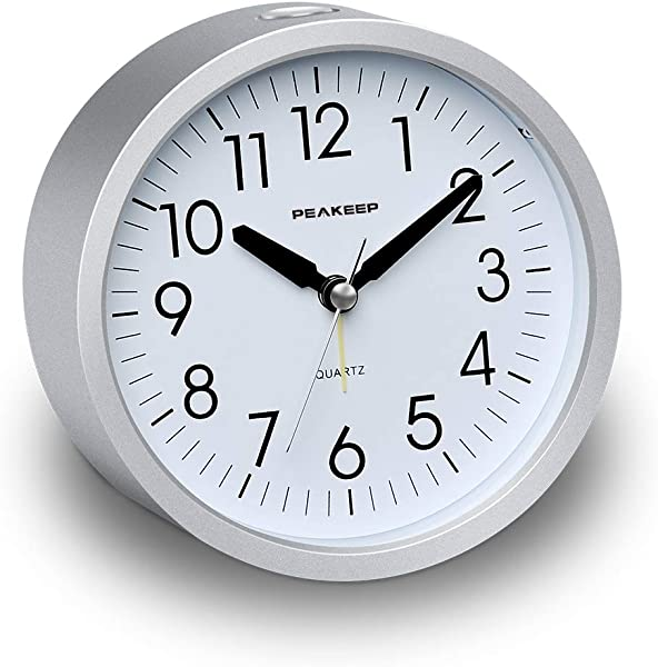 Peakeep 4 Inches Round Silent Analog Alarm Clock Non Ticking Gentle Wake Beep Sounds Increasing Volume Battery Operated Snooze And Light Functions Easy Set Silver