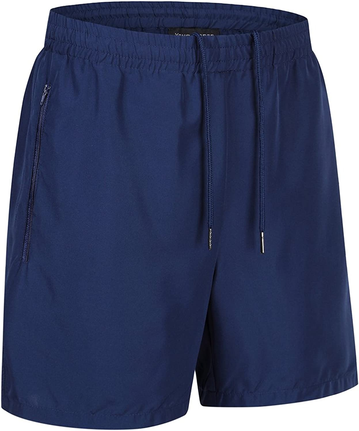 Men's Casual Quick Dry Running Workout Athletic Shorts with Zip Pockets