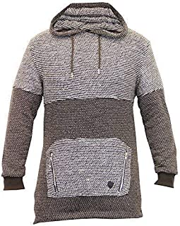 SoulStar Mens Long Line Sweatshirts Hooded Top Knitted Pullover Winter Zip