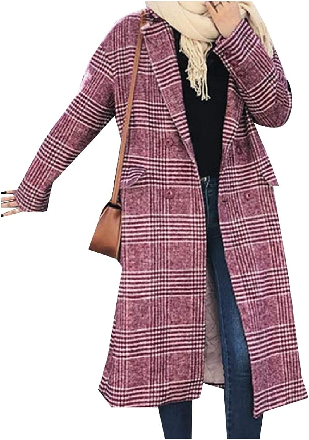 Vska Women Woolen Long Trench Coat FoldCollar Vintage Plaid Parka Jacket