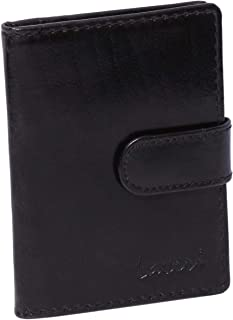 Laveri Genuine Leather Credit Card Holder Wallet Wallet and 20 Card Holder with Loop Button for Unisex - Leather, Black