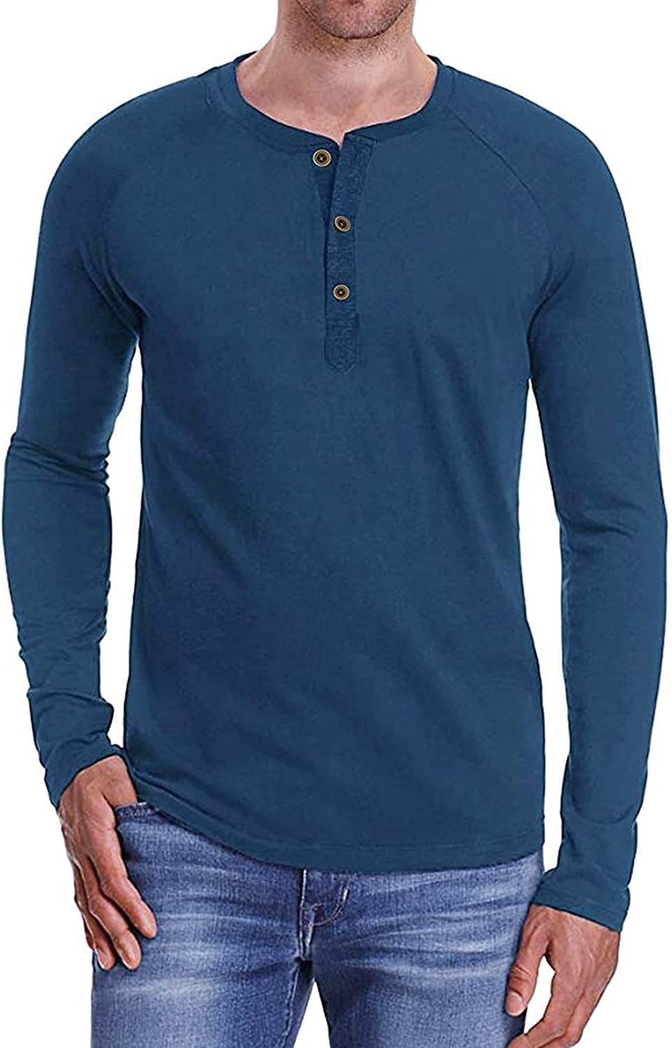 Mens Slim-fit Undershirts Long Sleeve Casual Sport Button Down Henley Shirts Solid Classic Basic T-Shirt Home Pajama