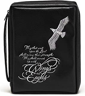 Bald Eagle Black Embroidered Leather Like Vinyl Bible Cover Case with Handle Large