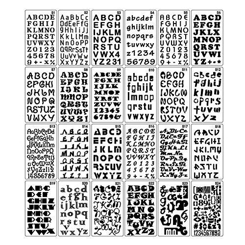 24 stuks Alfabet Stencil Plastic Scrapbook Nummer en Letters Sjabloon Set voor Kunst Craft Projecten