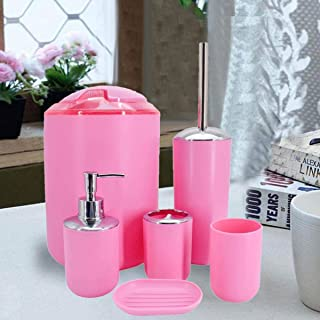 Kookee™ Bathroom Accessories Set of 6 includes Thrash Can, Toilet Brush Holder, Soap Dish, Tumbler, Toothbrush Holder and ...