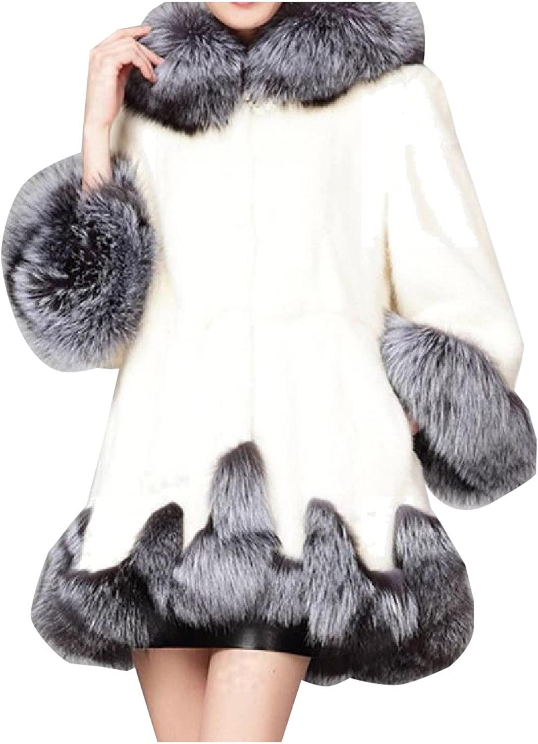 Tootless Women's LongSleeve Fluffy Faux Fur Hood Warm Tops Outwear