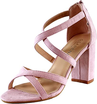 b499c8a4844 Larena Fashion New Womens High Block Heel Sandals Zip Ankle Cross Strap  Summer Shoes