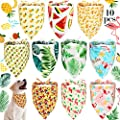 10 Pieces Pet Dog Puppy Bandana Flamingo Triangle Scarf Adjustable Rain-Forest Fruit Hawaii Style Pet Bib for Small Medium Size Dogs, Large Cats Summer Supplies