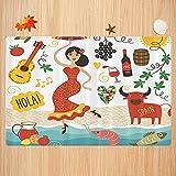 Alfombra de baño Antideslizante,España, España Monumentos y símbolos Flamenco Barcelona Mariscos españoles Europa Tema de Viajes Apto para Cocina, salón, Ducha (40x60cm)
