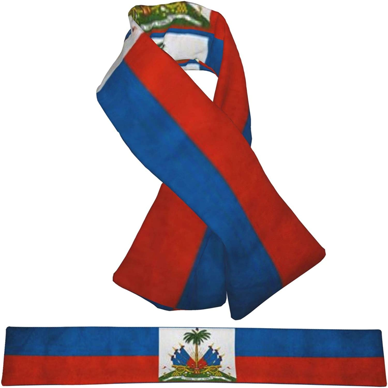 Winter Scarfs Vintage Haiti Flag Scarves Wraps Neck Warmer Flannel Winter Cross Tie Scarves