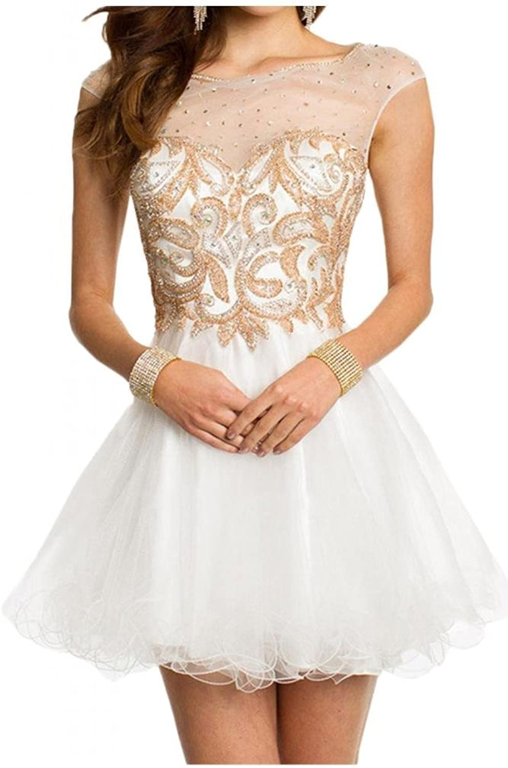 Angel Bride 2015 Hot Sale Short Tulle Homecoming Party Dresses with Sleeves Bateau