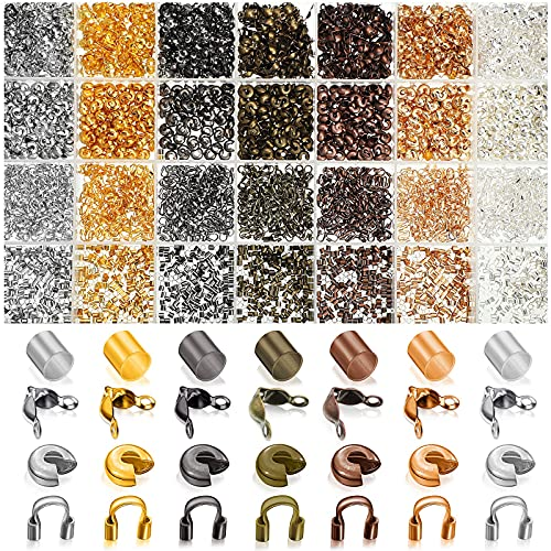 2100 Pieces Brass Tube Crimp Beads Crimp Beads Knot Covers Wire Guardians Bead Tips Knot Covers for DIY Jewelry Bracelets Necklaces Making (Assorted Colors)