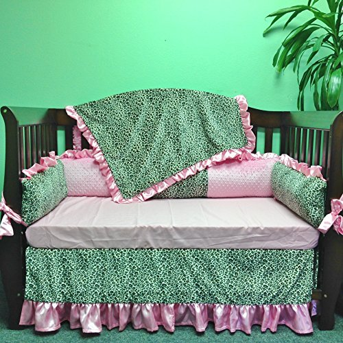 Great Deal! Crib Set 4pc/ Nursery Bedding/Cheetah/Light Pink