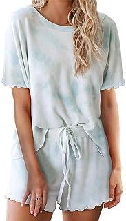 Womens Tie Dye Printed Short Sleeve Tops and Pants Long Pajamas Set Joggers 2 Piece PJ Sets Nightwear Sleepwear Loungewear