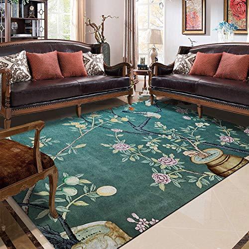 Alfombra De Salón Moderna Alfombra Pelo Corto Flor de Estilo campestre y pájaro Azul Dormitorio Lavable Mat Moqueta 150X170CM
