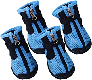 Jim Hugh Dog Shoes Summer Anti Slip Breathable Mesh Tied Zipper Medium Large 2 Colors Shoes for Dogs