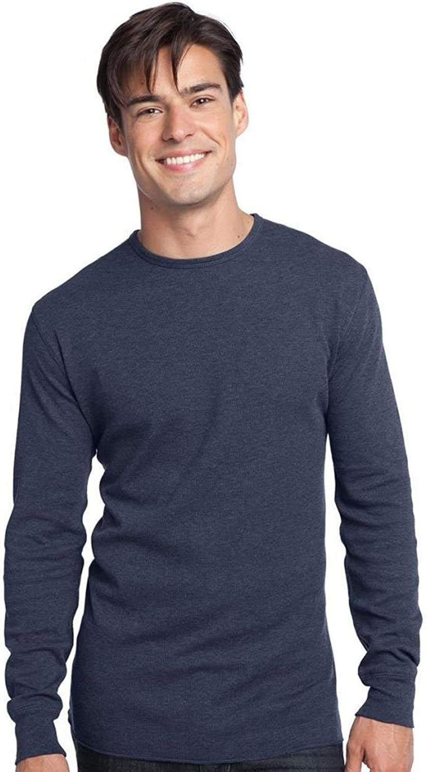 District Threads Men's Long Sleeve Ring Spun Thermal TShirt_Navy Heather