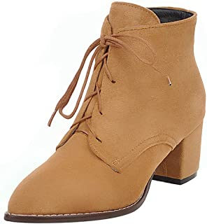 RAZAMAZA Women Retro Block Heels Booties Pointed Toe