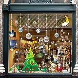 BETOY Navidad Pegatinas de Ventana Copo de Nieve Estática Pegatina Copo de Nieve Alce Peg...