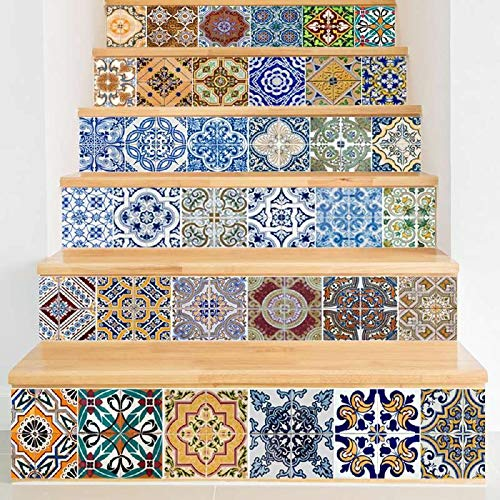 Diseño Mosaico azulejo Pared Escalera Pegatinas Autoadhesivo Impermeable PVC Etiqueta de Pared Cocina Cerámica Pegatinas Decoración del hogar (Color : Nc003)