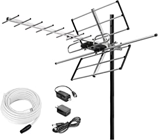 McDuory Digital Amplified Outdoor HDTV Antenna - 120 Miles Range - Built-in Amplifier - Performance in UHF/VHF - 40 feet RG6 Coax Cable - Tools Free Installation