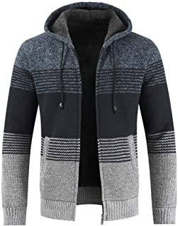 Men's Fashion Striped Color Matching Coat Overoat Winter Drawstring Hooded Jacket
