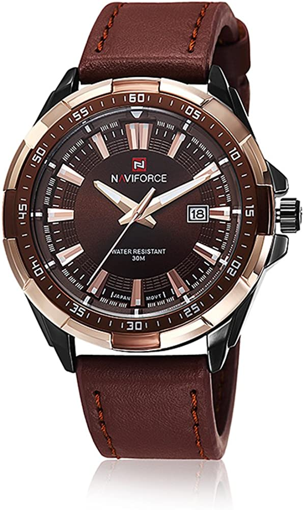 NAVIFORCE Men's Outlet sale feature Military Analog free shipping Leather Spo Waterproof Strap 30M