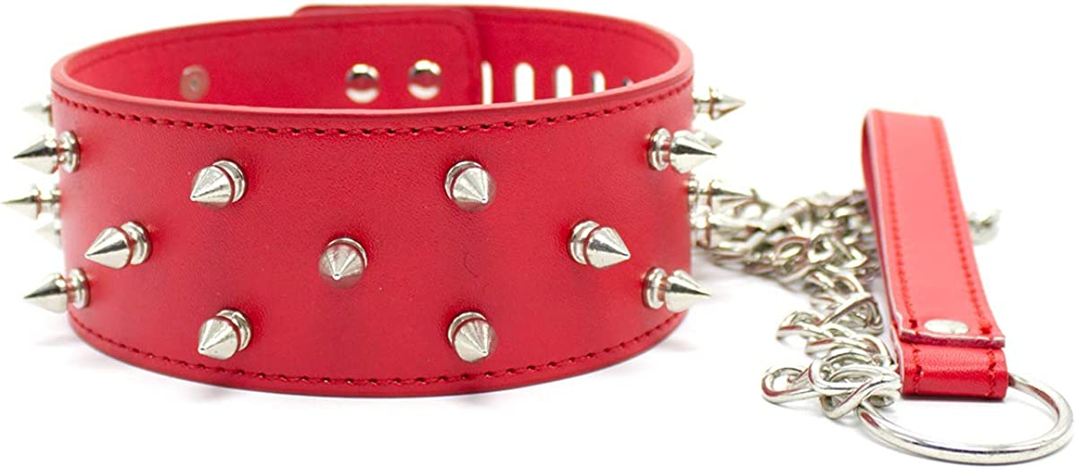 Soft PU Leather Lined Necklace Collar Choker and Leash Red Neck Choker with Chain with Metal Rivet Red Fo Women