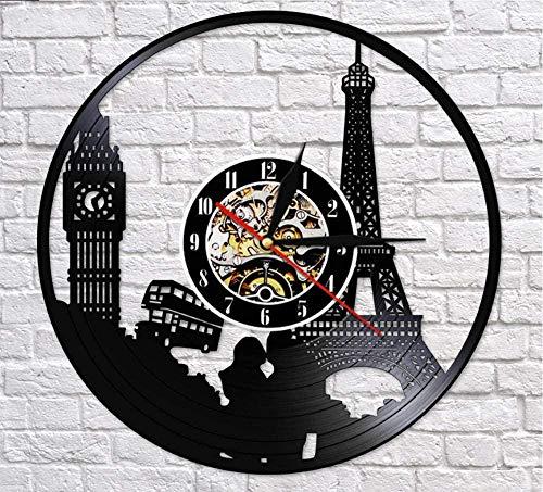 ZZNN Vinyl record wall clock Paris London Travel Themed Vinyl Record Wall Clock Tower Big Ben Tower Unique Travel Landmark Wall Art Retro Clock Watch cjdm2498 Vinyl wall clock