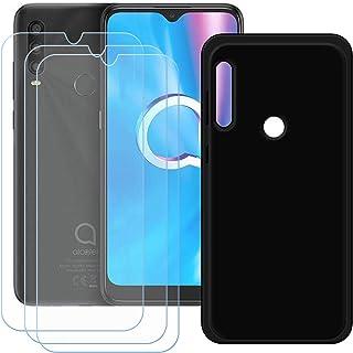 TTJ Svart skal till Alcatel 1SE 2020 [3 stycken] HD pansarglas, mobiltelefonfodral silikon skyddande hölje TPU fodral mobi...
