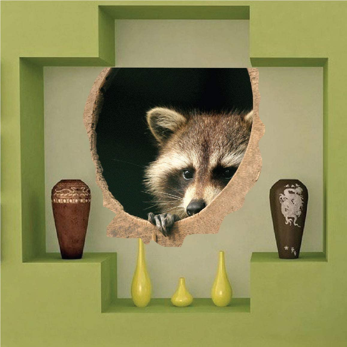 Wall Decals Raccoon Home Decor Wild - Regular store Animal Indianapolis Mall Mural Stick