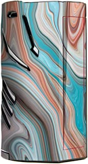 Skin Decal Vinyl Wrap for Smok T-Priv 3 Kit 300w TC Vape skins stickers cover / Teal Blue Brown Geode Stone Marble