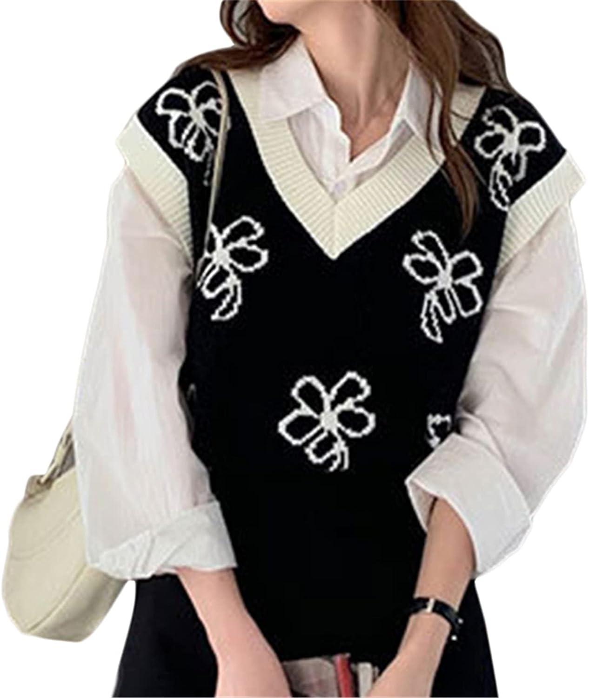 Women Knit Sweater Vest y2k Sleeveless Loose V Neck 90s Waistcoat E-Girls Preppy Style Knitwear Top Streetwear