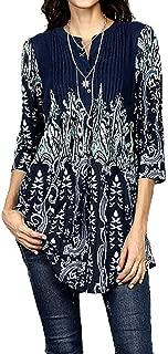 Elegant Blouse for Women Plus Size, Ladies Boho Printed 3/4 Sleeve Tunic Summer Casual T-Shirt Long Tops
