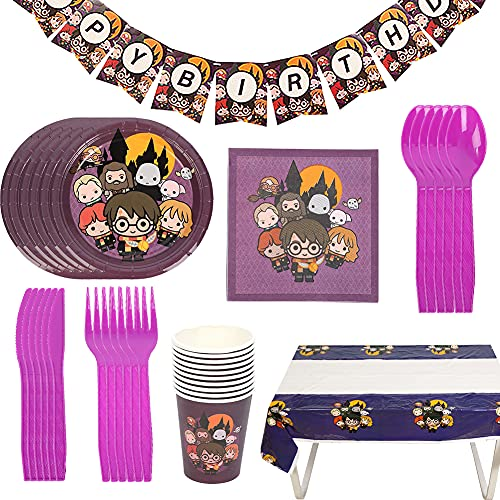 Harry Potter Cumpleaños Vajilla Decoraciones Vajilla de Fiesta TemÁTica de Harry Potter Plato Taza Servilleta Tenedor Banderín Decoraciones para Cumpleaños