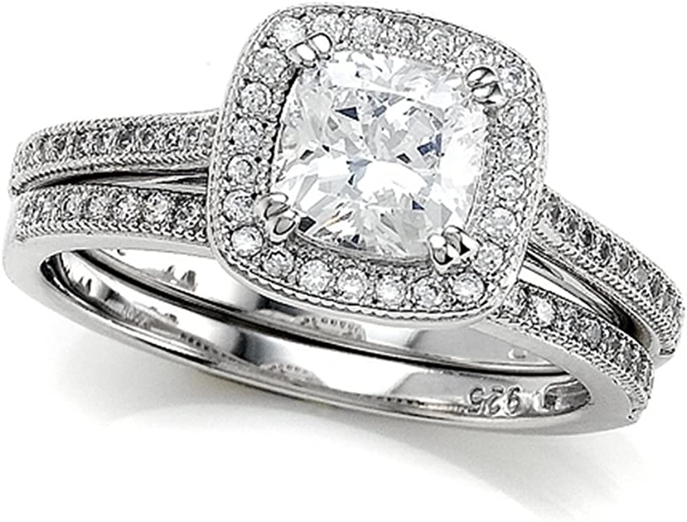 Zoe R Max 90% OFF Recommendation Micro Pave Hand Set Cushion-Cut Cubic Zirconia Ce Halo 6mm