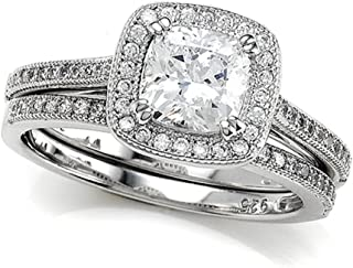 Zoe R Micro Pave Hand Set Cubic Zirconia Halo 6mm Cushion Cut Center Wedding Set or Matching B