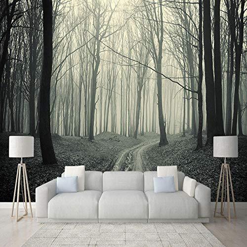 Fotobehang 3D wallpaper retro mistige bosboom foto muurafbeelding woonkamer tv sofa restaurant behang voor muren 300cm (W) x 210cm (H)