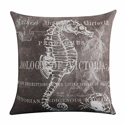 Acelive tema marino algodón de lino, cuadrado fundas de almohada decorativa para el hogar lindo, para el hogar o la oficina, en forma de decoración para sofá recámara sala de...